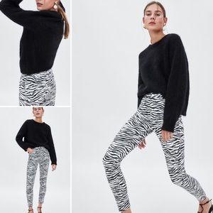 2 Zara Jeans Zebra Print High Rise Skinny Ankle